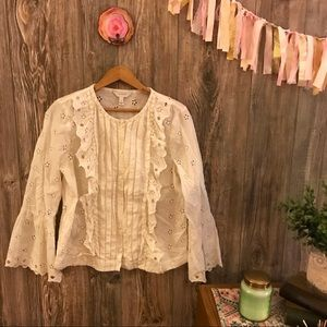 {j.crew} eyelet lace ruffled bell sleeve blouse 6